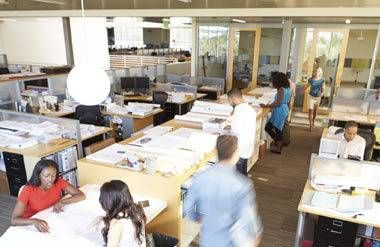 Interior Of Modern Open Floor Plan Office