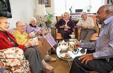 Group of seniors socializing