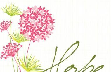 Illustrated flowers with the word hope
