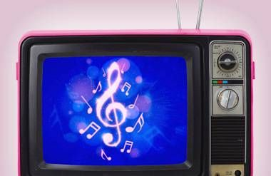 Music notes on old tv screen