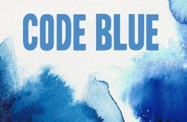 Code blue words with blue design