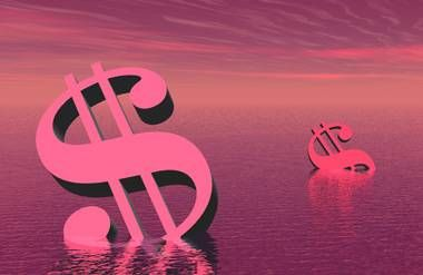 Illustrated drowning dollar signs