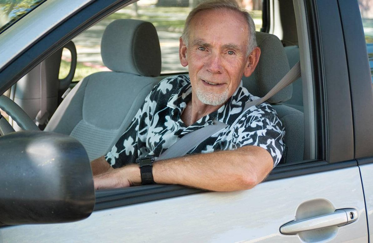 Elderly man driving