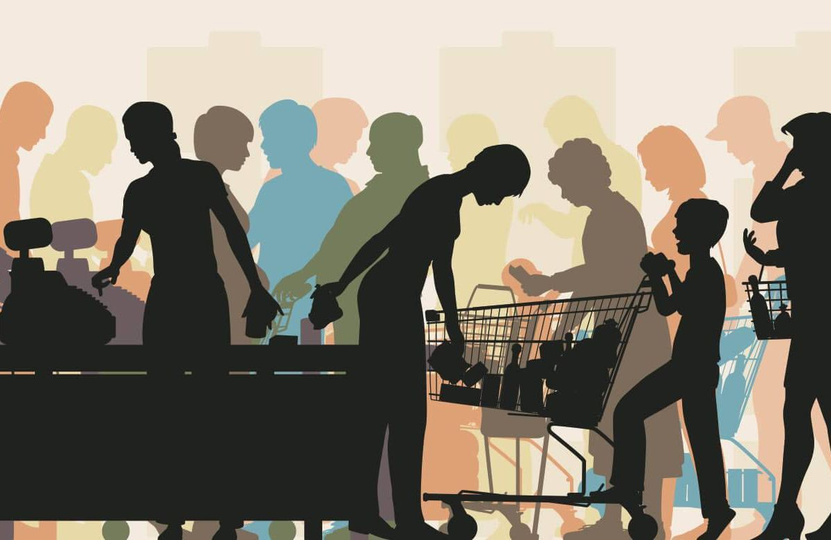 Illustration of crowded grocery store