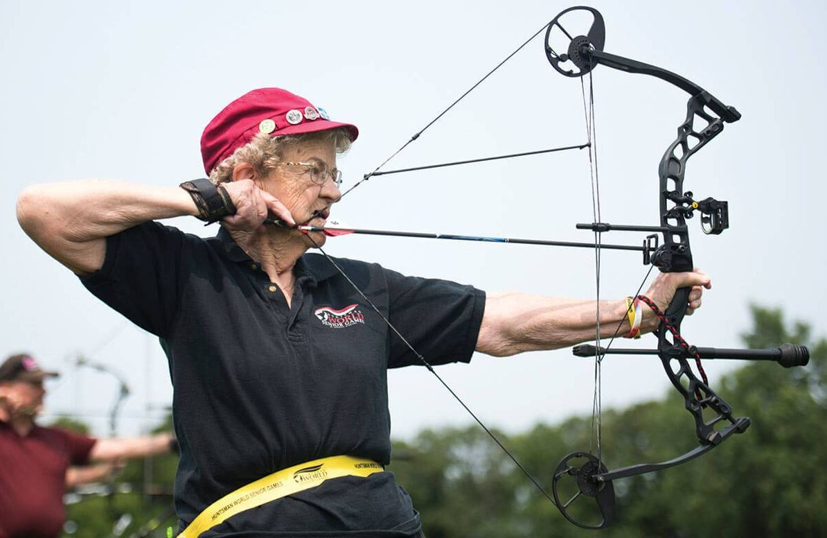Elisabeth Johnson, 86, practices to compete in archery on July 3 for the 2015 National Senior Games. The archery event was held at St. Thomas Academy in Mendota Heights, Minn.