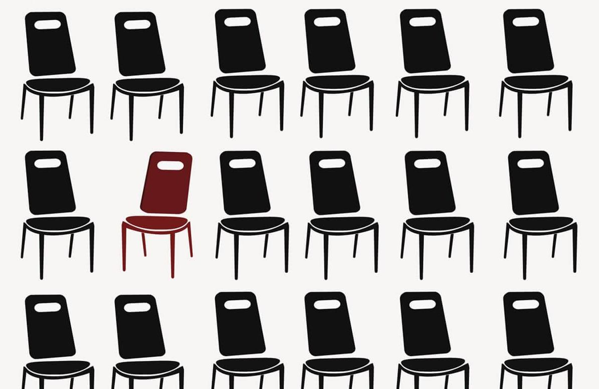 Illustration of chairs with one standing out
