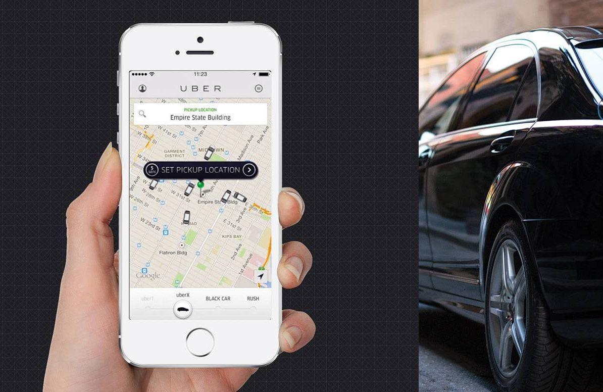 Uber app and car