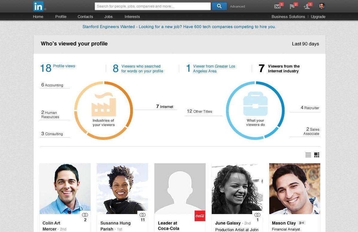LinkedIn profile information