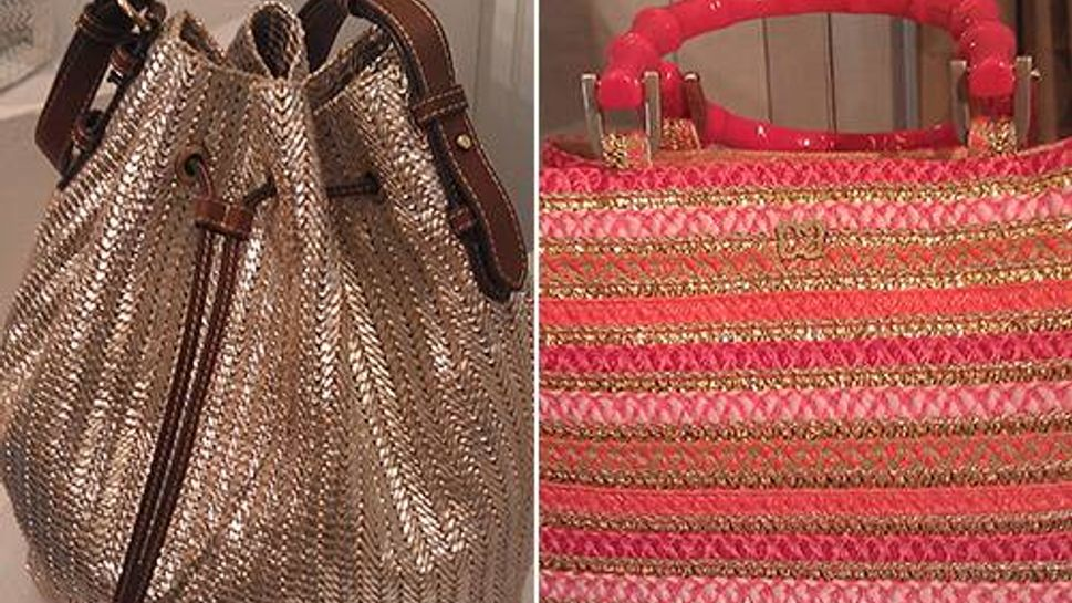Eric Javits showed these two lustrous bags with new shapes and fresh colors