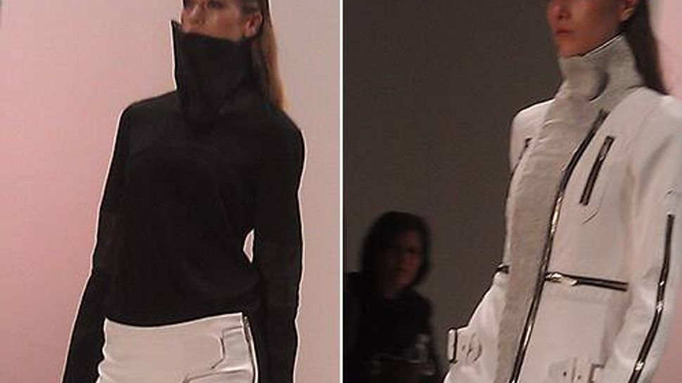 Karigam showed this exaggerated turtle neck, and chin-brushing jacket