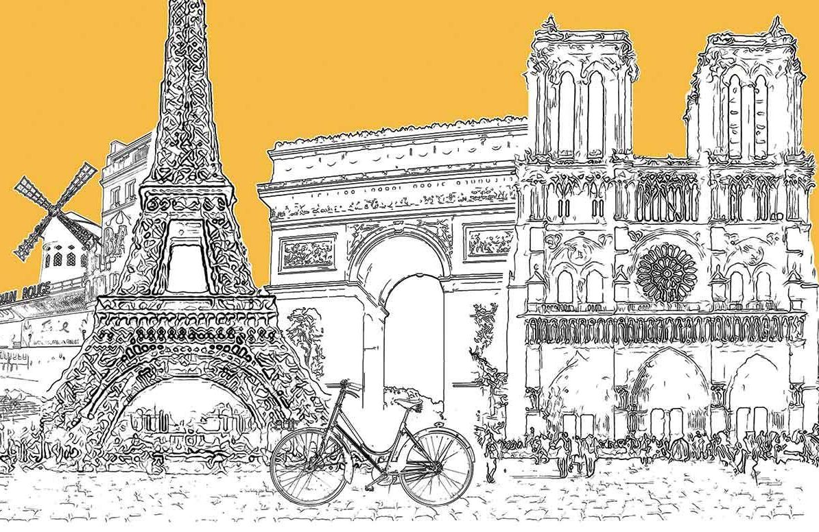 Illustration of French landmarks and bicycle
