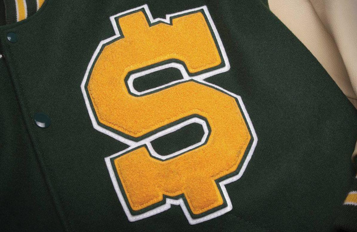 Letterman jacket with dollar symbol