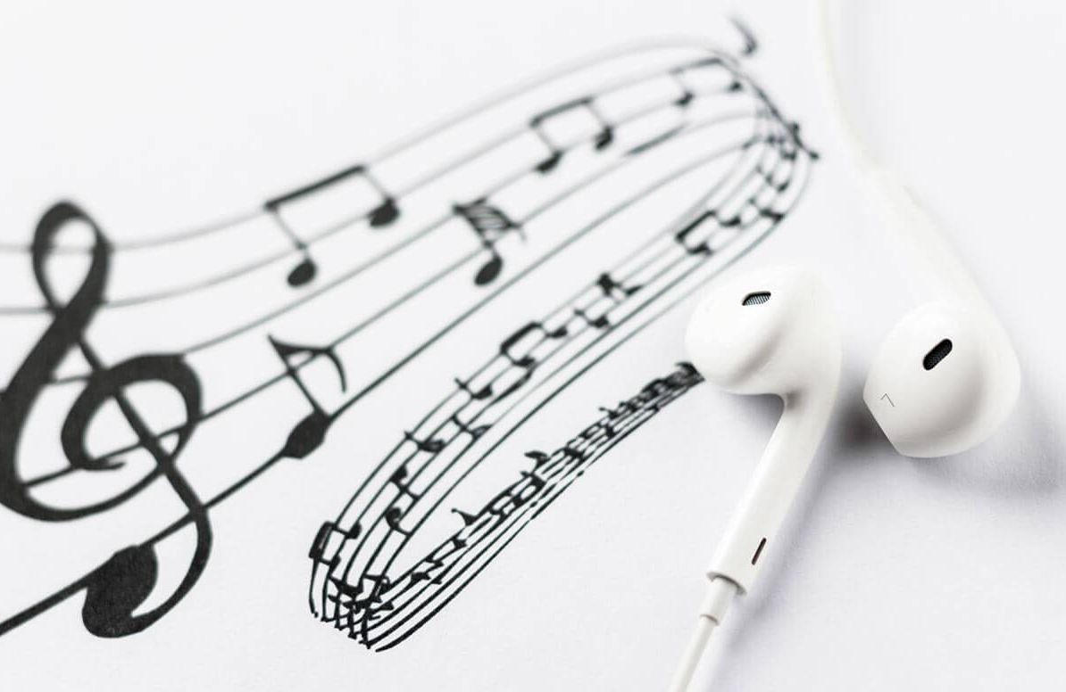 Headphones and music notes