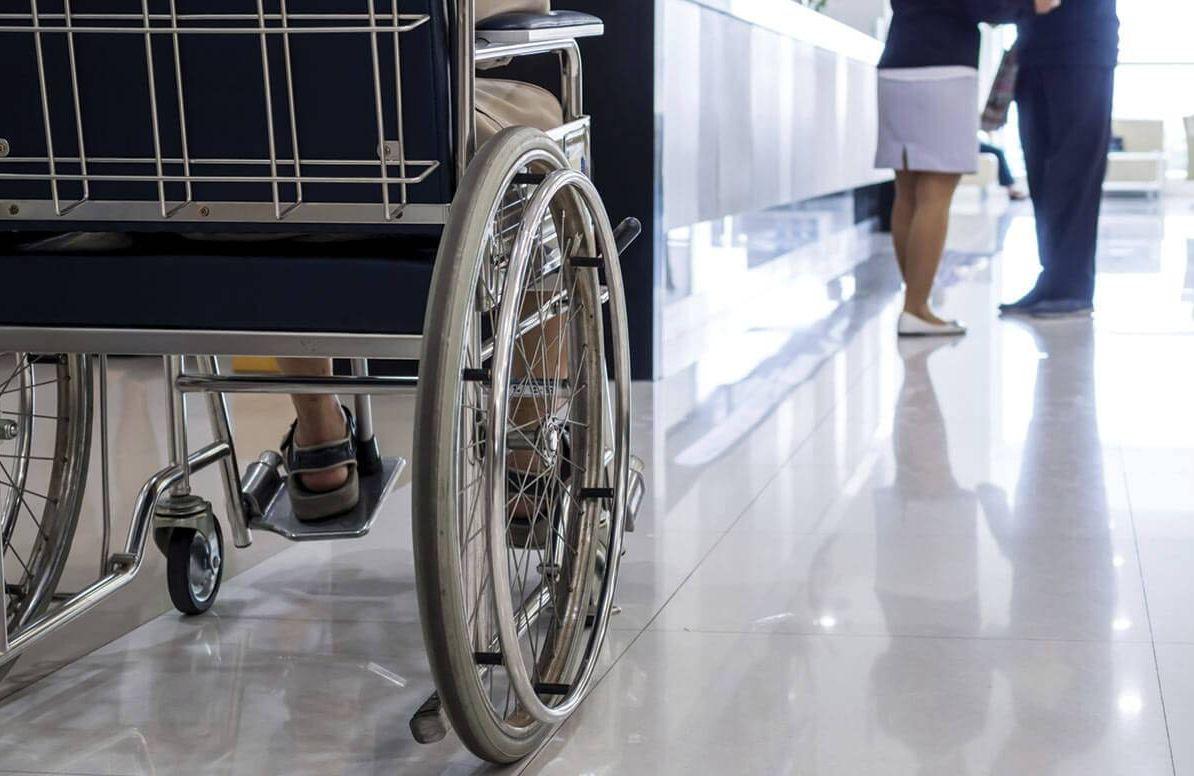 Patient waiting in wheelchair