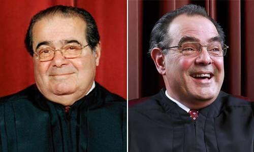 Antonin Scalia (left) and Edward Gero (right) as Supreme Court Justice Antonin Scalia