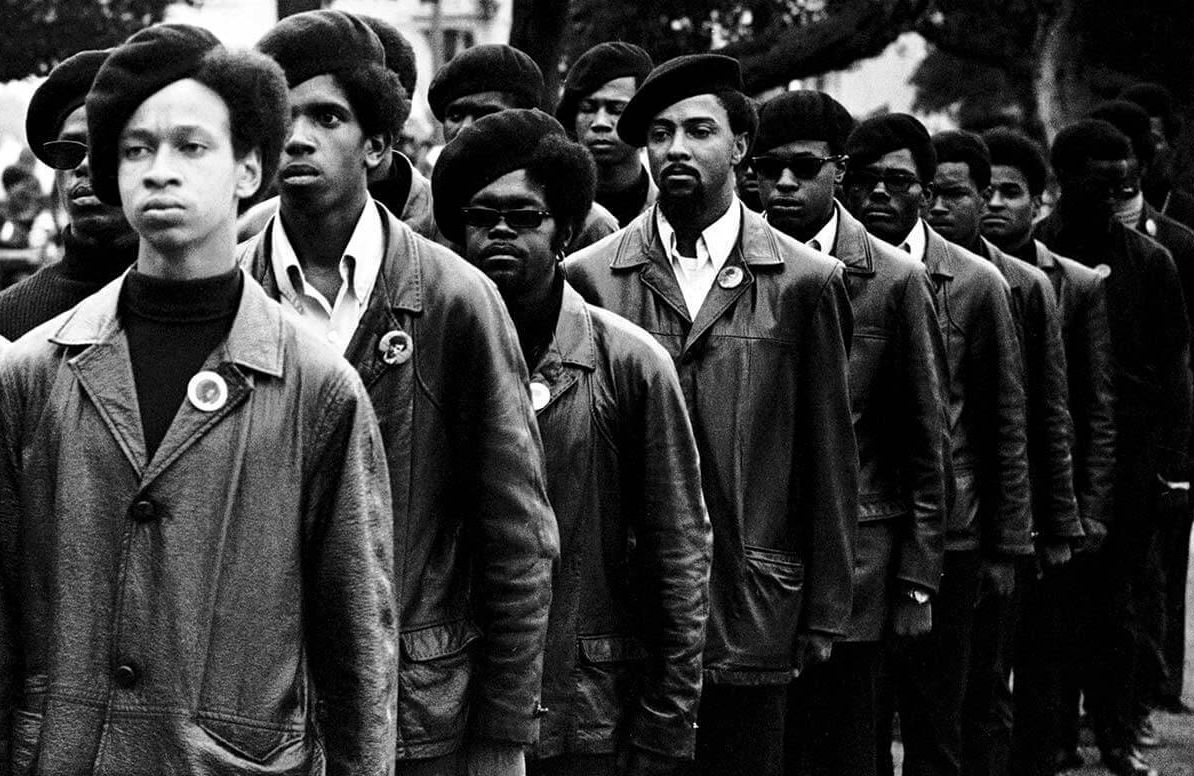 Panthers on parade at Free Huey rally in Defermery Park, Oakland, July 28, 1968