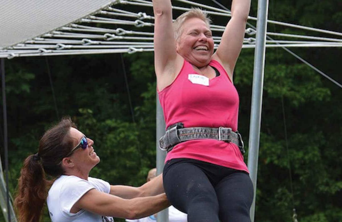 The writer tries the trapeze while on a retreat at Omega Institute for Holistic Studies in Rhinebeck, N.Y.