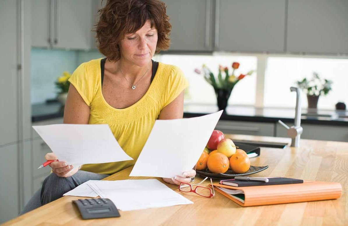 Woman reviewing finances