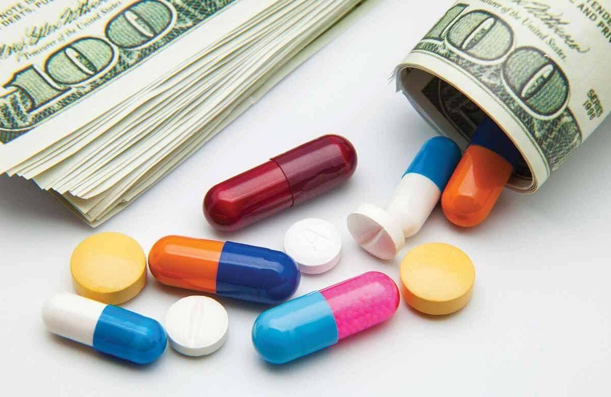 Drug pills and money