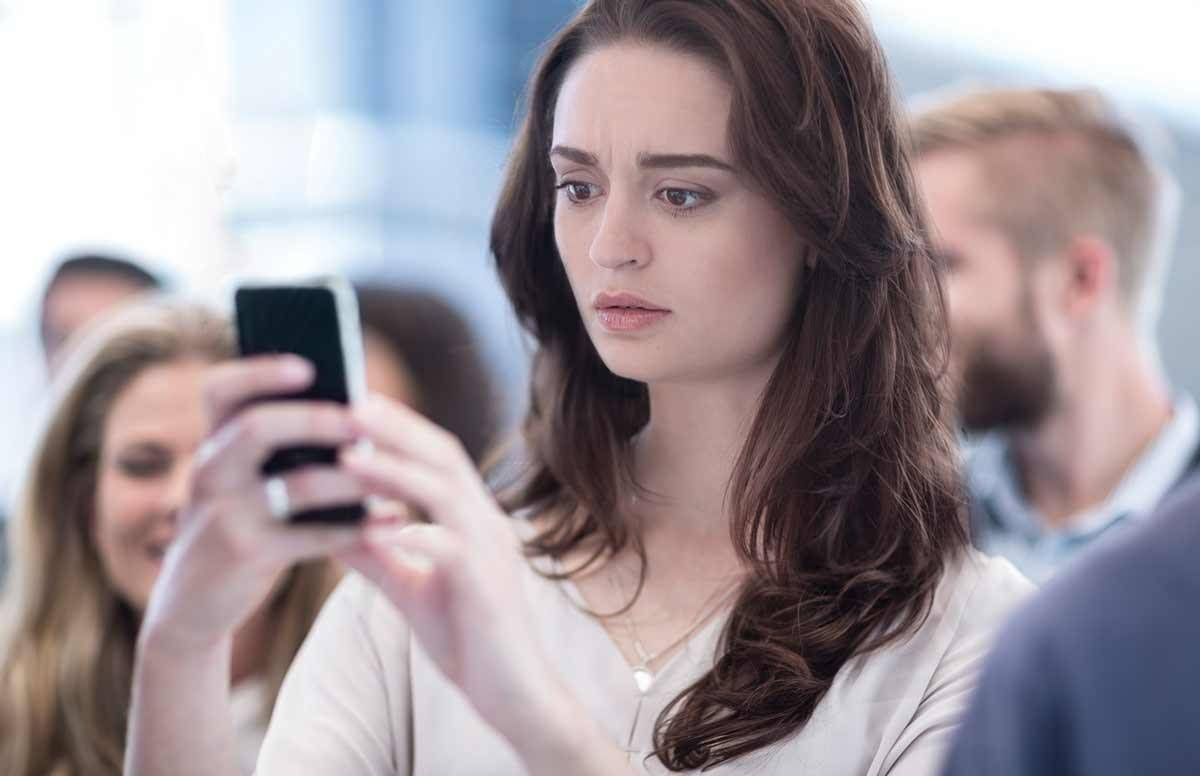 Stressed millennial phone