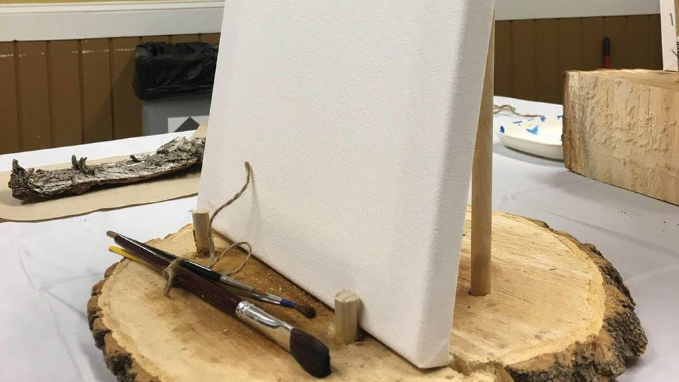 A blank canvas on a rustic easel awaited me at my spot in the painting class at Dodge Nature Center near my home in Minnesota.