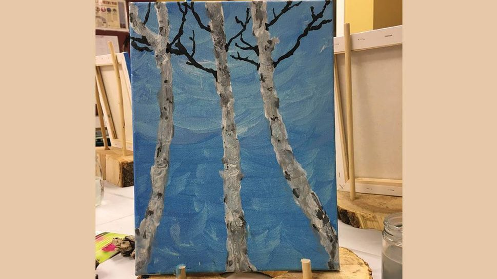 My finished work of art — a close-up of birch trees that I painted with the guidance of Leah Dittberner, the naturalist fellow who led the class at the nature center.