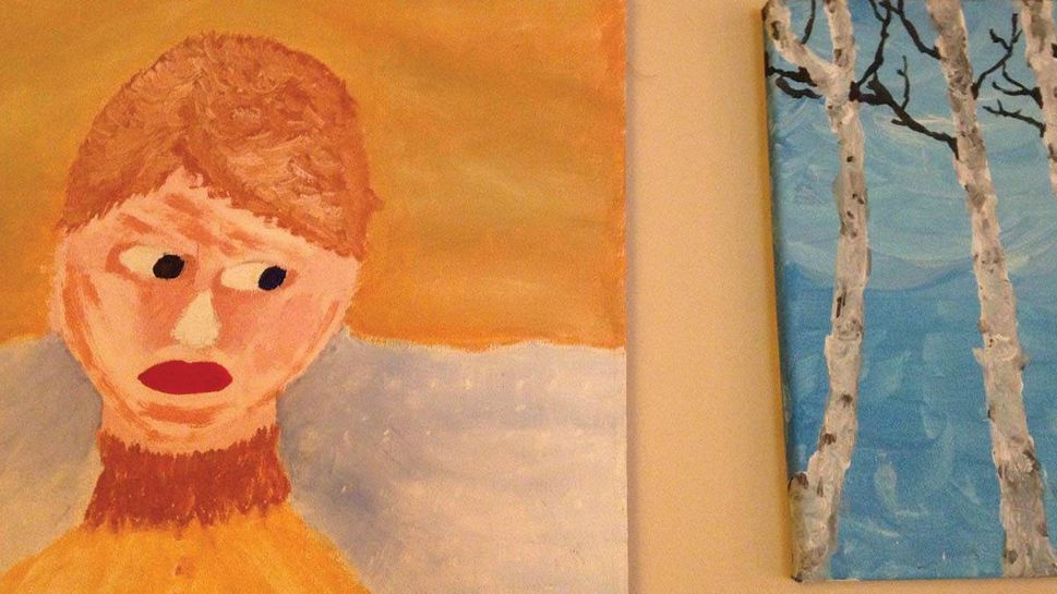 Sadly, I don't think my thrift-store painting approves of my nature-class painting on my art wall at home.