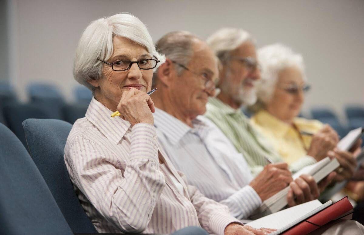 Mature students attending class