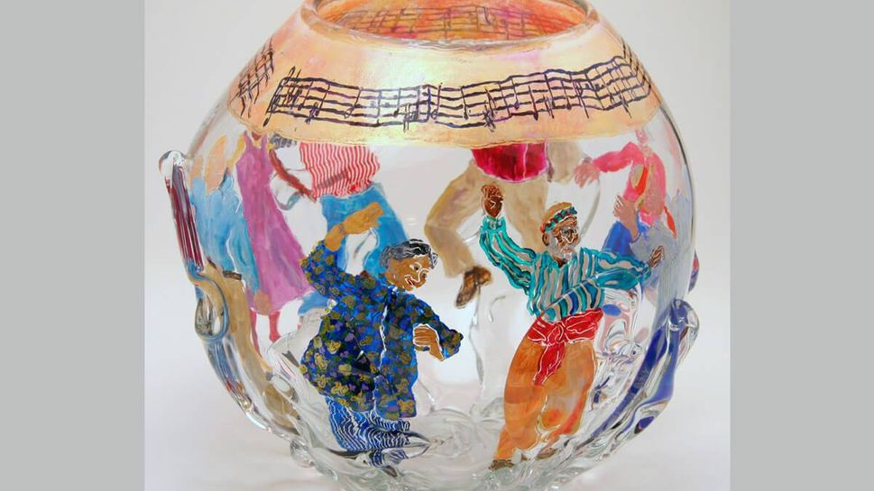"""""""Time to Dance,"""" painting on glass, by Lucy Rose Fischer."""