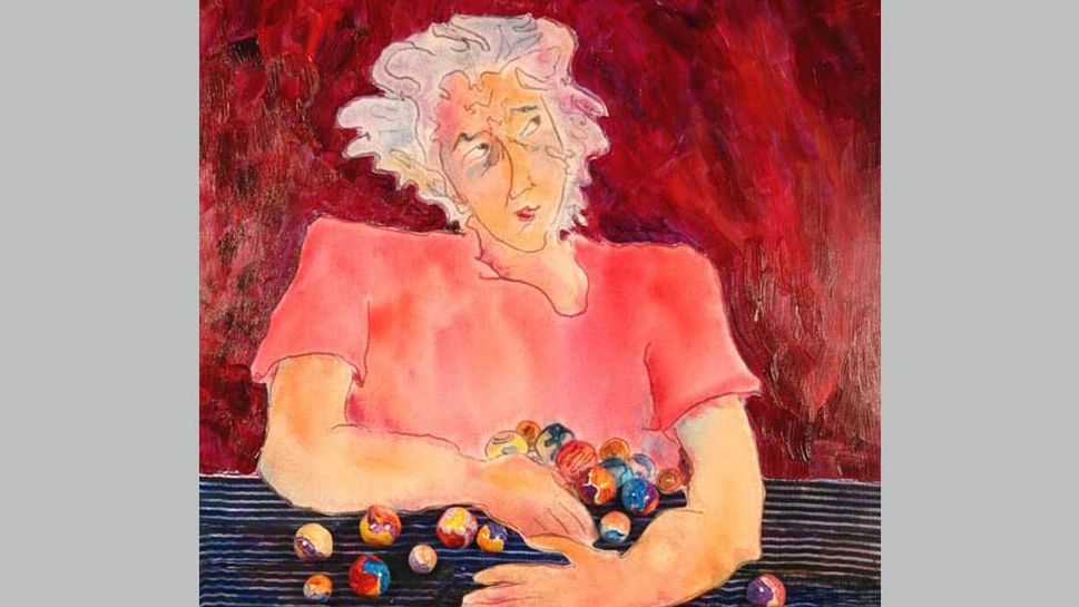 A woman worries about losing her marbles in an illustration by Lucy Rose Fischer.