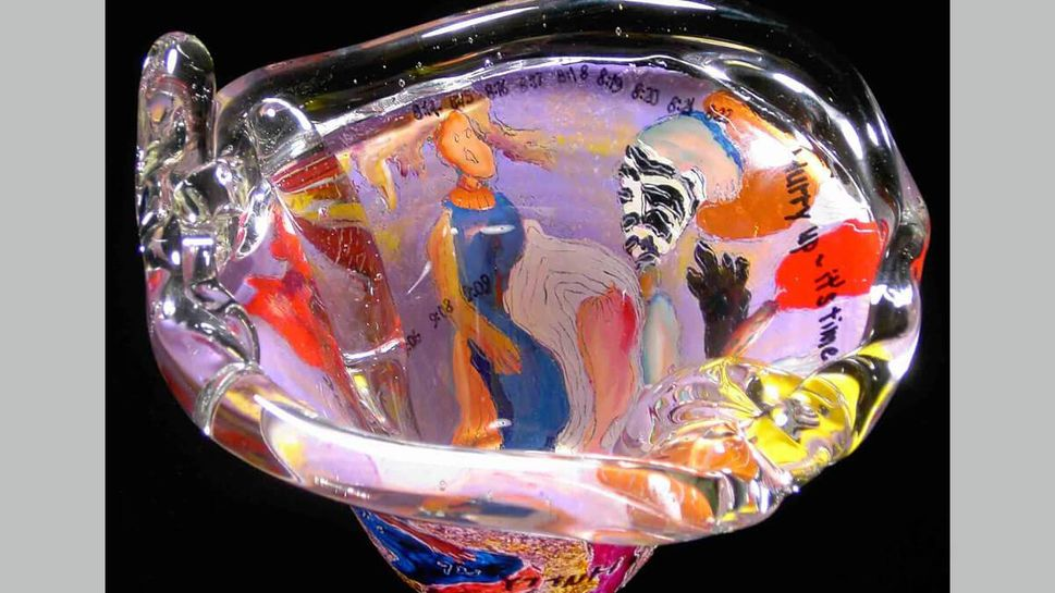 """""""Hurry Up It's Time,"""" painting on glass, by Lucy Rose Fischer"""