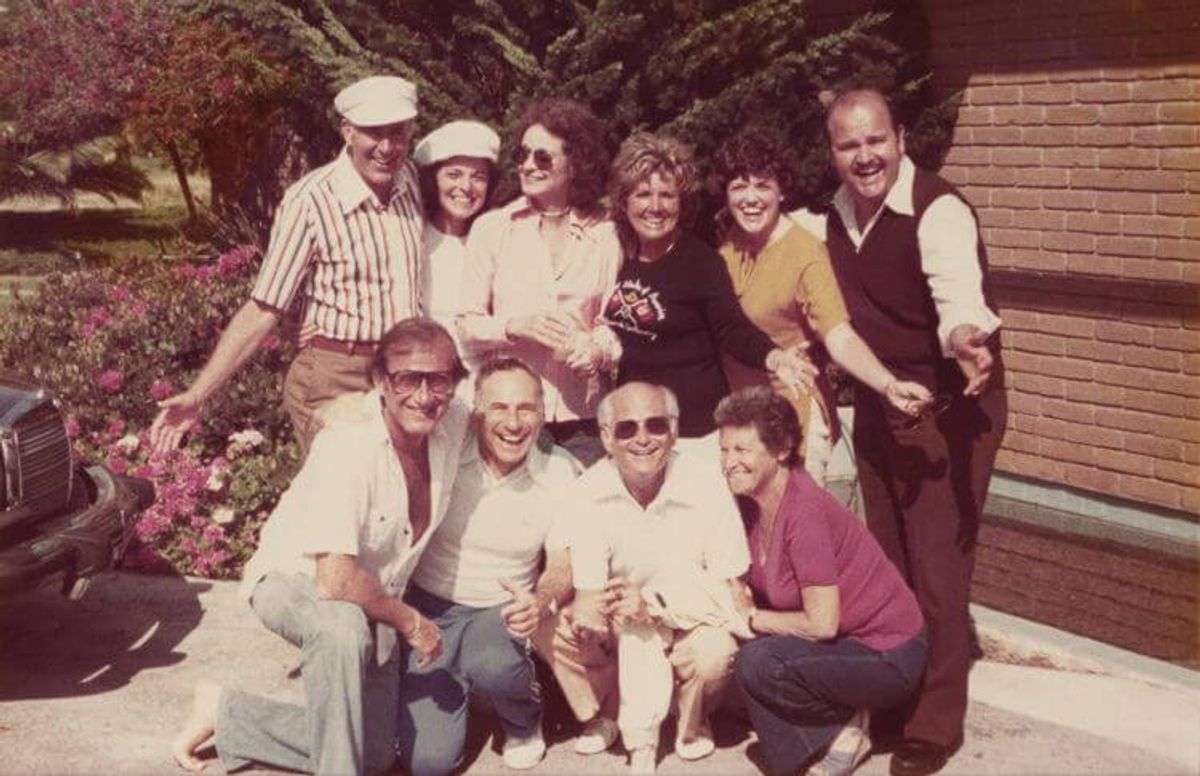 Back, top row, l to r: Carl Reiner, Anne Bancroft, Frances Lear, Pat Gelbart, Carol DeLuise and Dom DeLuise Bottom row, l to r: Larry Gelbart, Mel Brooks, Norman Lear and Estelle Reiner