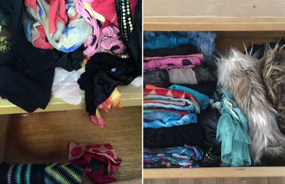 Tidying guru Marie Kondo suggests gathering up everything in one category and sorting it all at once. You touch each item and discard anything that doesn't spark joy while expressing appreciation for serving it's purpose. She also insists on vertical storage. Following her advice transformed my scarf situation.