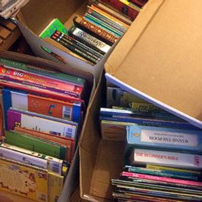 It turns out the decluttering bug is contagious. My kids helped me sort and pack up dozens of books for donation.