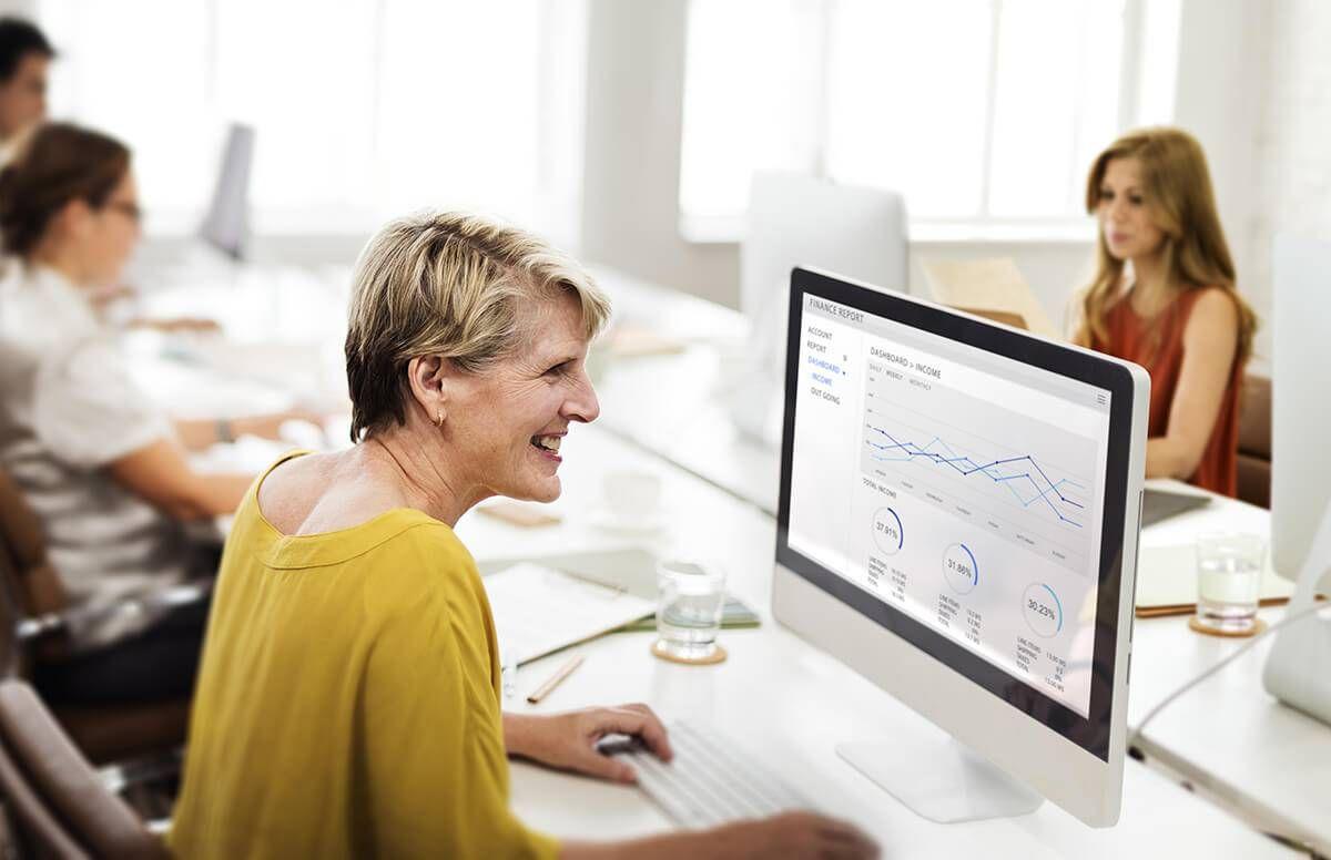 Woman at computer at work