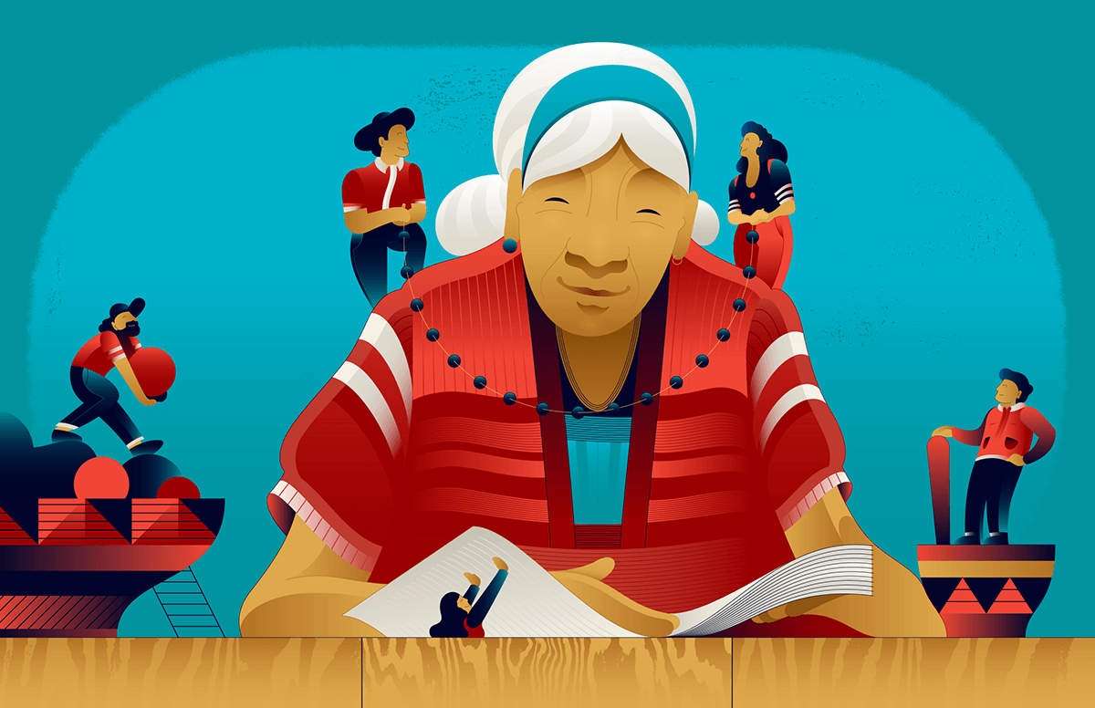 Illustration of a Costa RIcan woman, surrounded by family and community