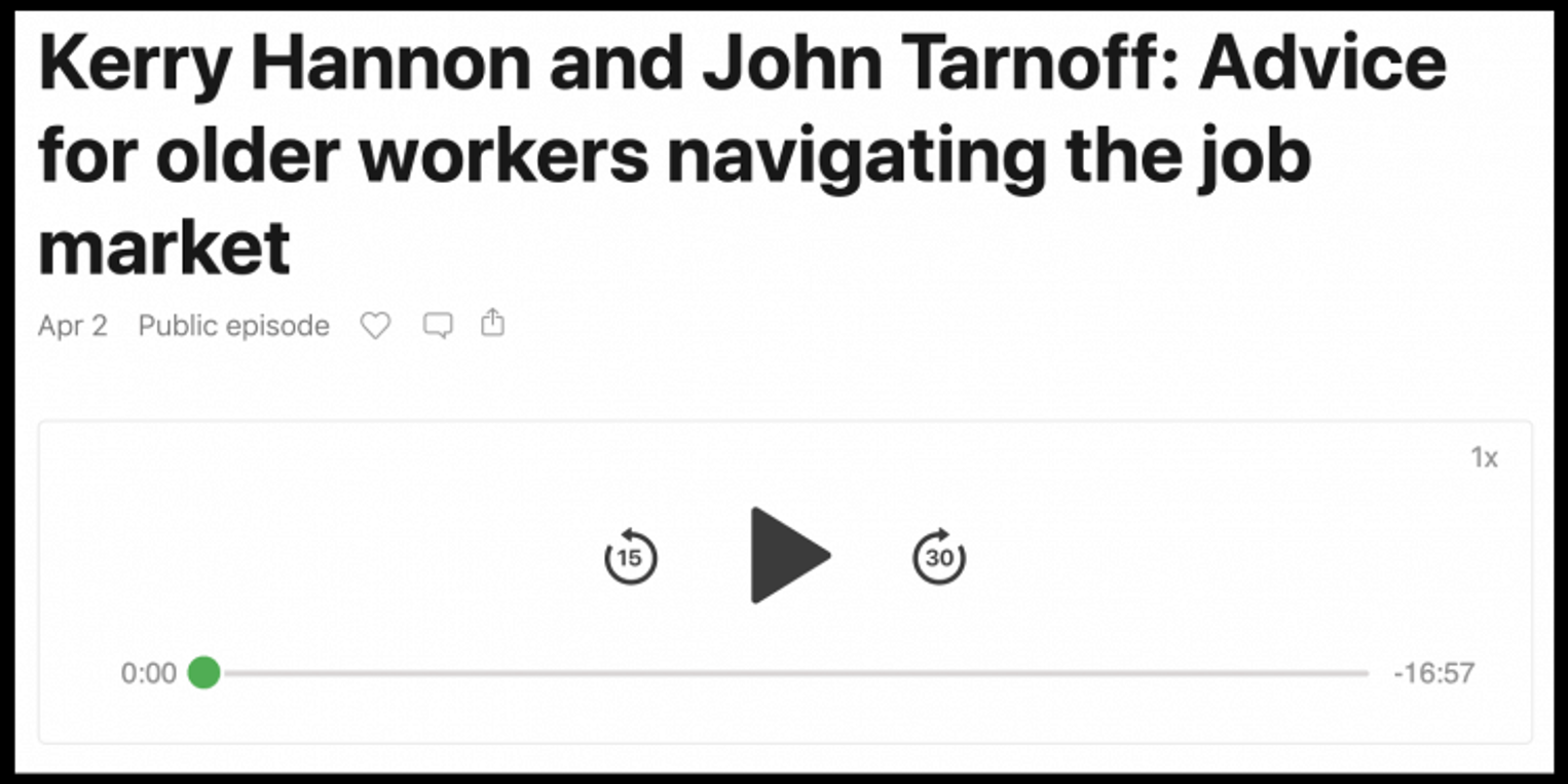 Kerry Hannon and John Tarnoff: Advice for older workers navigating the job market