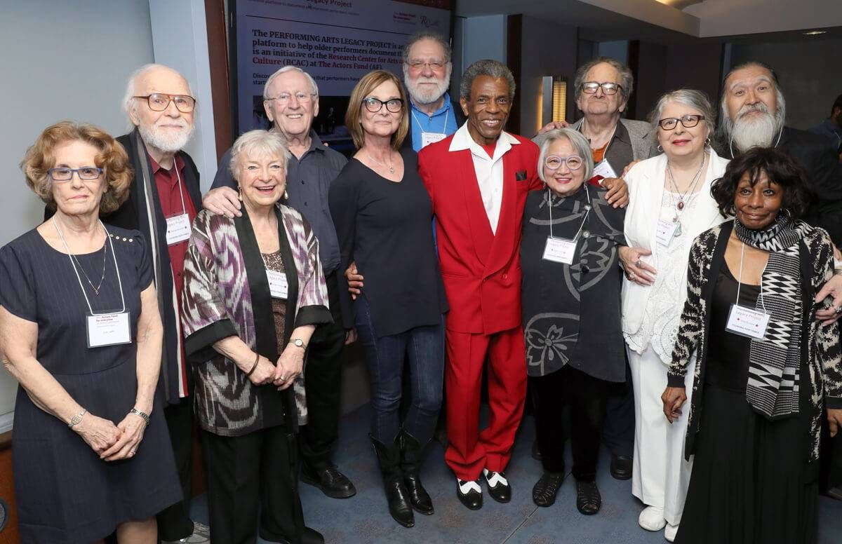 Actors including Len Cariou and 2019 Tony Award nominee Andre DeShields (in red) gather with guests and organization members at the PAL launch event. Joan Jeffri, director of The Actors Fund Research Center for Arts and Culture is at far left.