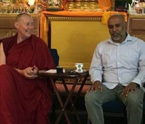 The Venerable Tenzin Chogkyi (left) listens to Sunil Joseph during a workshop they recently facilitated at the Tse Chen Ling Center in San Francisco.