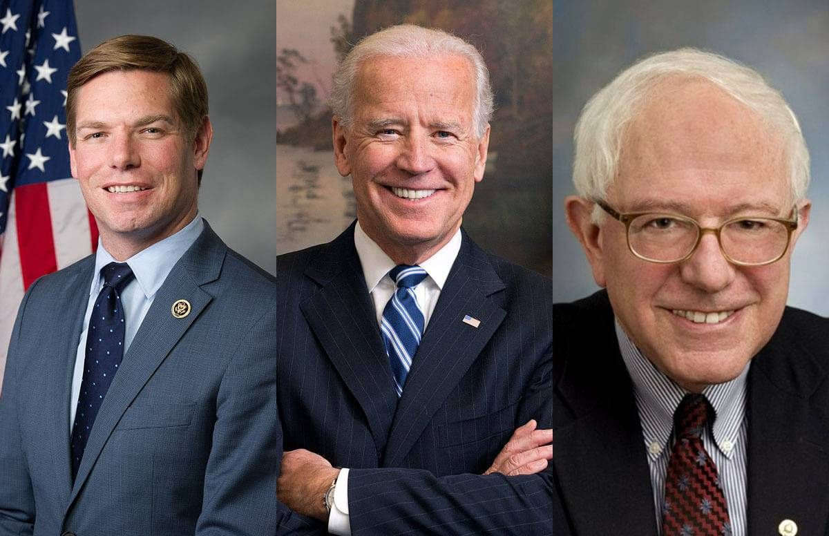 Eric Swalwell, Joe Biden, and Bernie Sanders