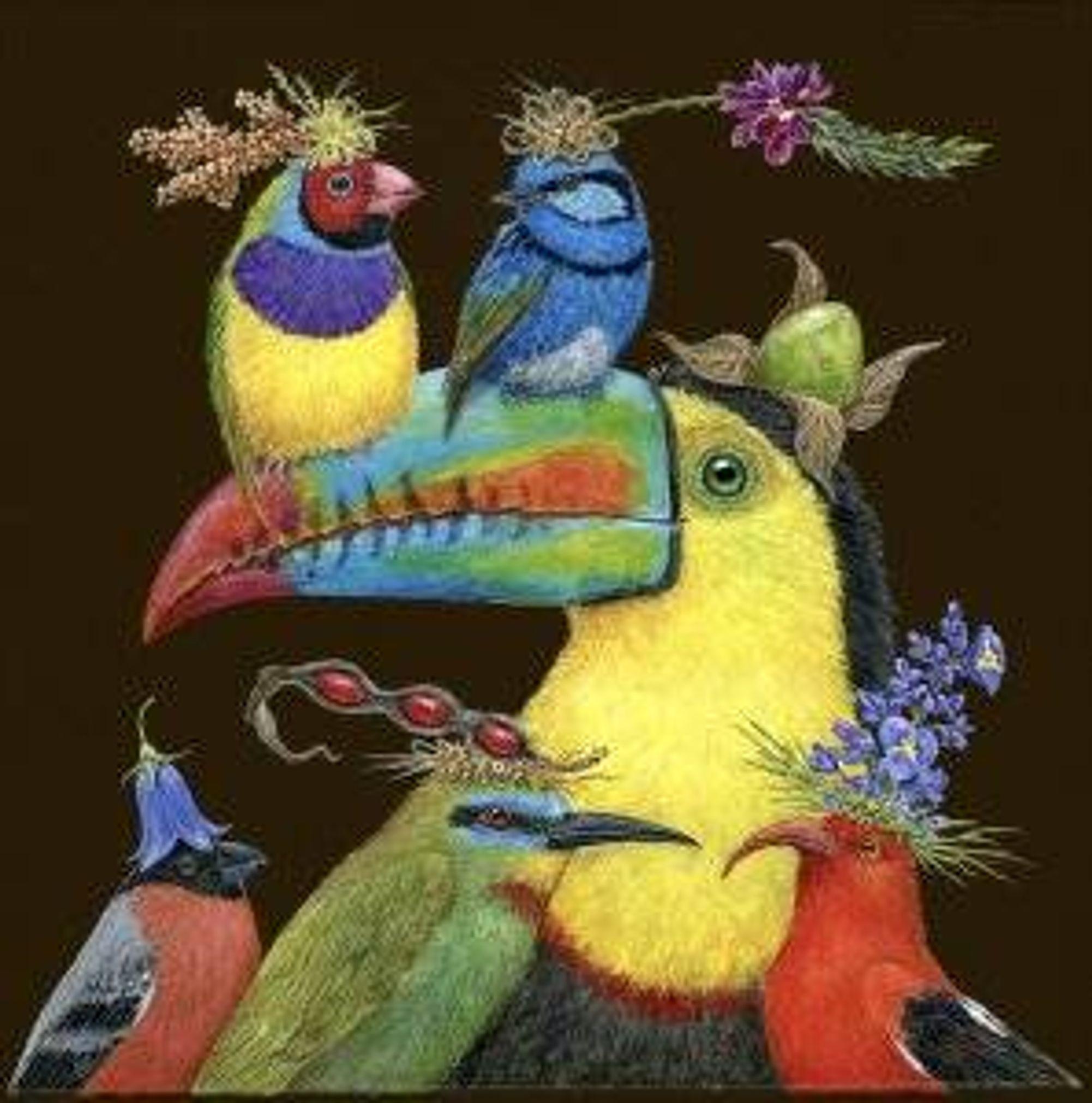 World Travelers bullfinch, bee-eater, i'iwi, keel billed toucan, splendid blue fairy wren, gouldian finch