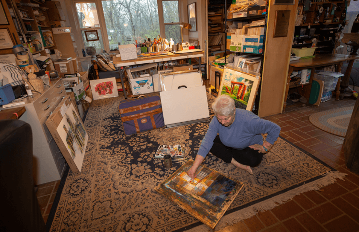 "Of the dedicated space for creating art in her home, Bradley says, ""Actually, my whole house is a studio. I paint too much!"""