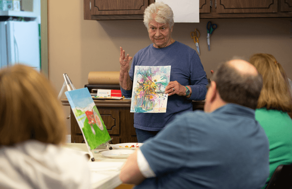 "In the ""Wet and Wild Watercolors"" class, Bradley offers suggestions, as well as encouragement, to her students on how they can begin to create art."