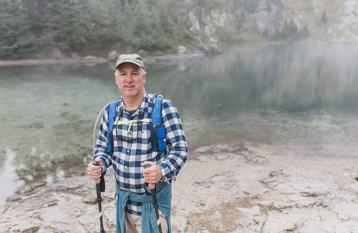 Mark Schmitt hiking in Oregon during his gap time.