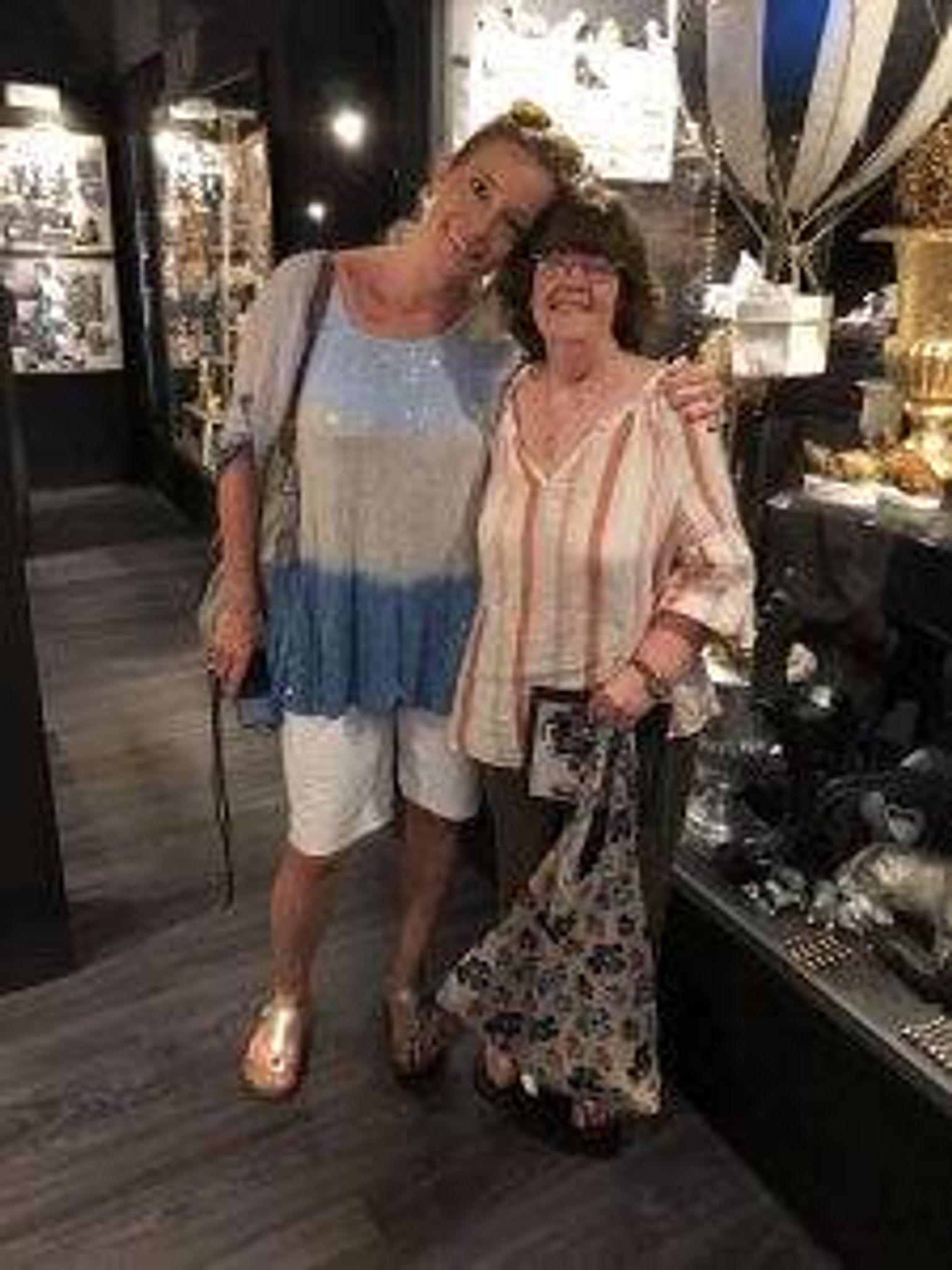 Author Kerri Fivecoat-Campbell (r) and her German exchange daughter, Steffi
