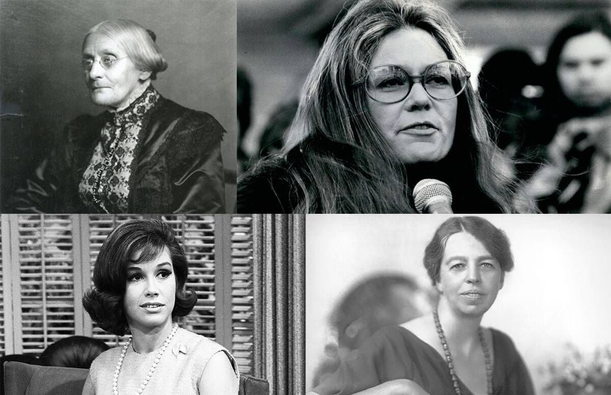 collage of susan b. anthony, gloria steinman, mary tyler moore, and eleanor roosevelt