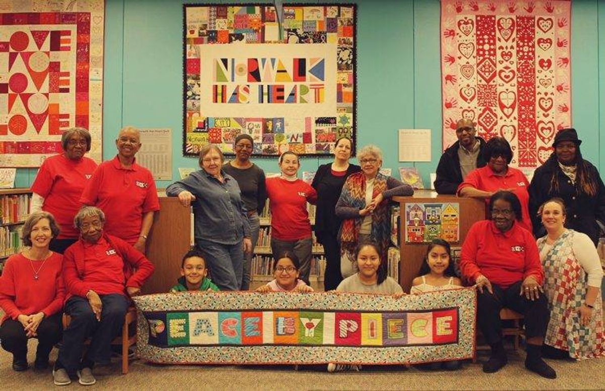 Peace by Piece group portrait at the Norwalk Public Library