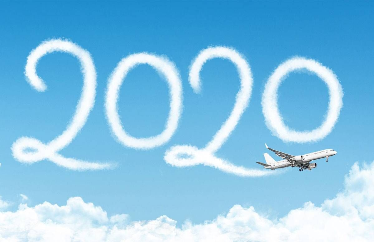 Plane overhead spelling out 2020