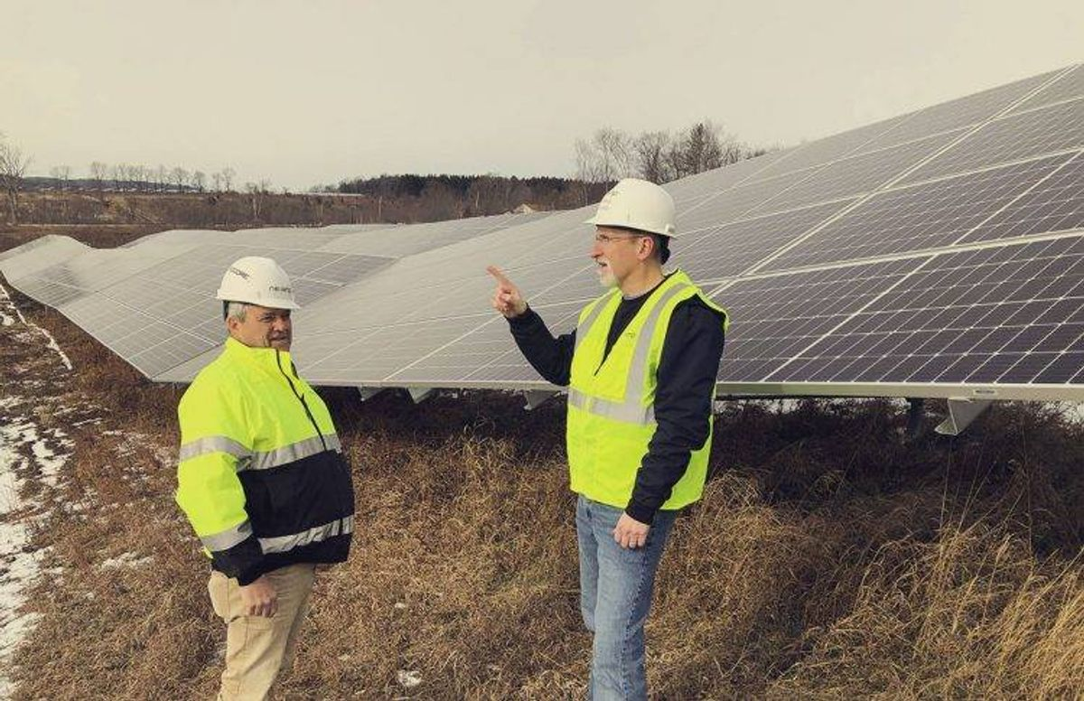 Two managers from Boston-based NexAmp discuss the company's new 14-megawatt solar farm near Greeneville, N.Y.