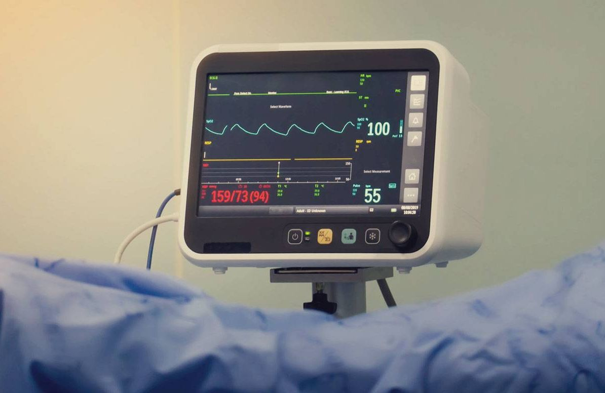 EKG machine monitoring someone's heart health